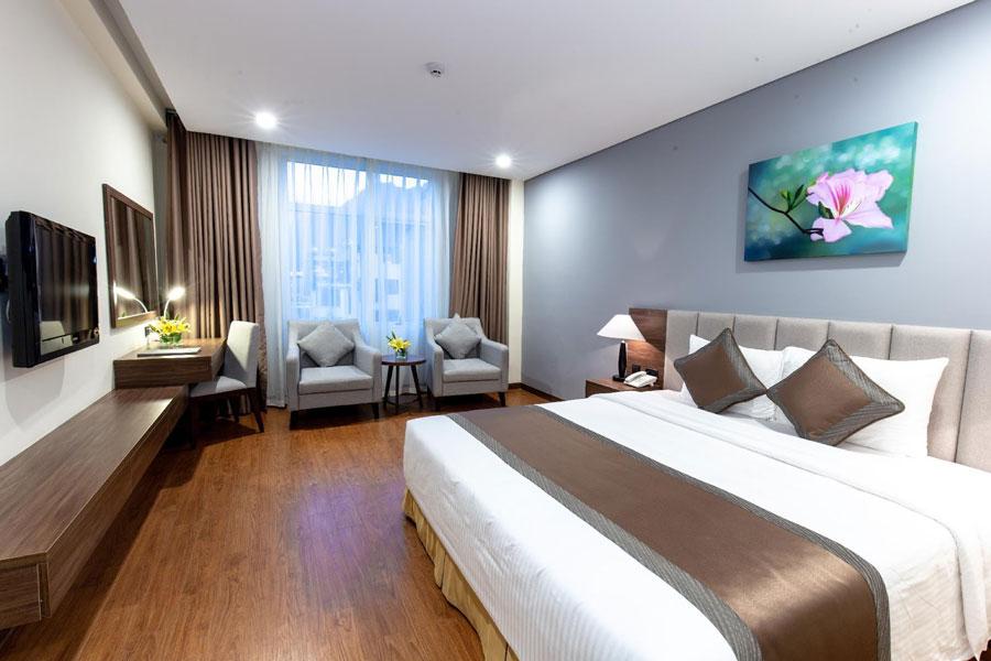 Phòng nghỉ tại khách sạn Mường Thanh được trang bị đầy đủ các thiết bị tiện nghi và sang trọng